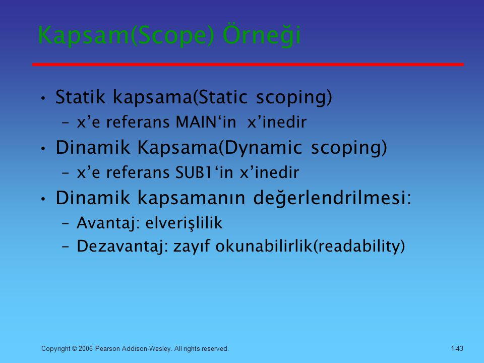 Kapsam(Scope) Örneği Statik kapsama(Static scoping)