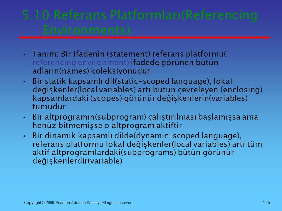 5.10 Referans Platformları(Referencing Environments)