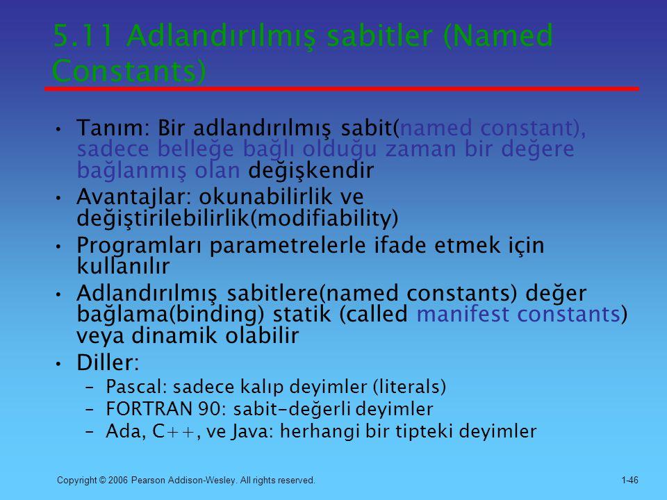 5.11 Adlandırılmış sabitler (Named Constants)