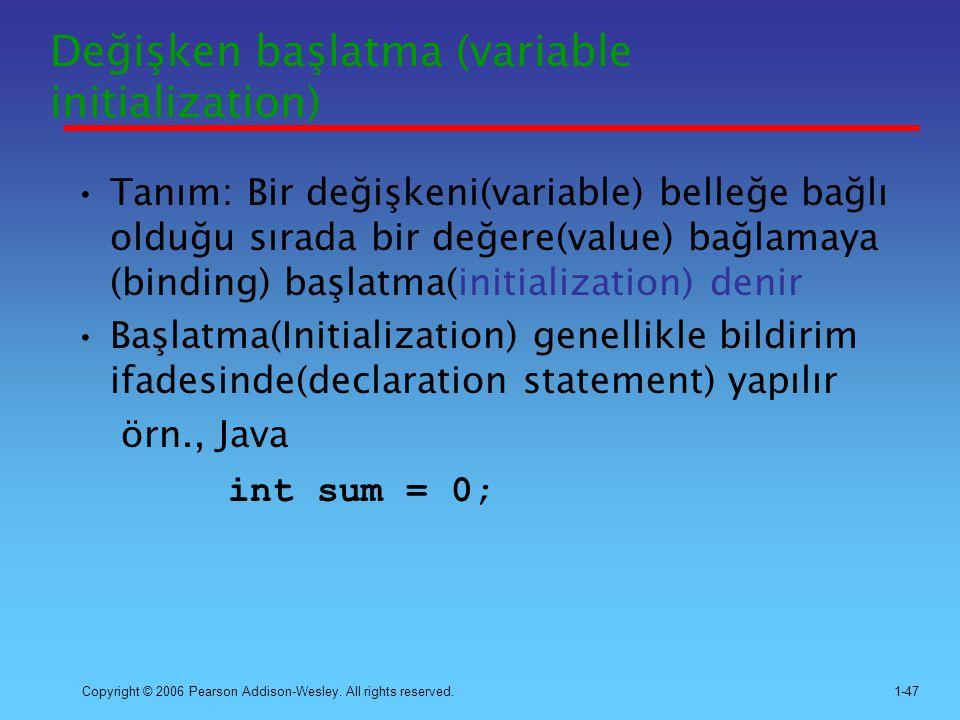 Değişken başlatma (variable initialization)