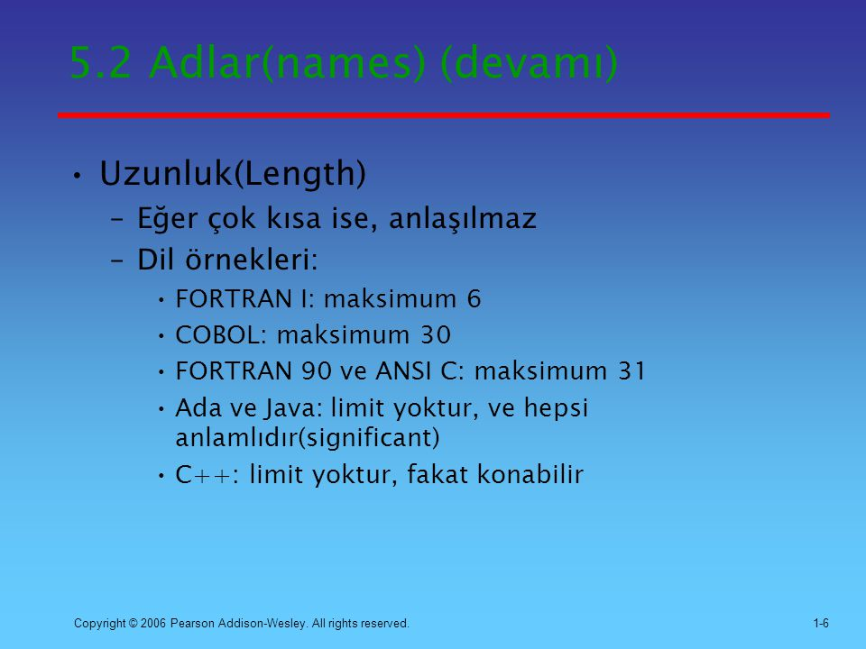 5.2 Adlar(names) (devamı)