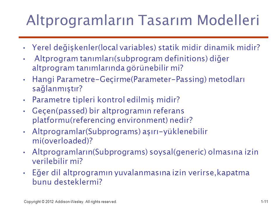 Altprogramların Tasarım Modelleri