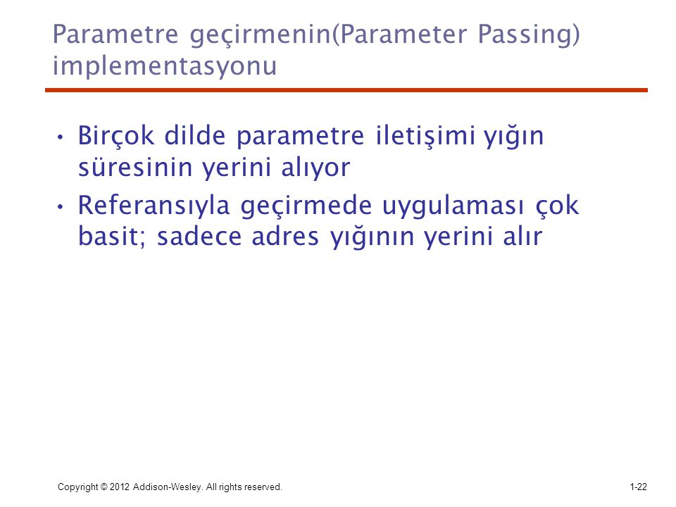 Parametre geçirmenin(Parameter Passing) implementasyonu