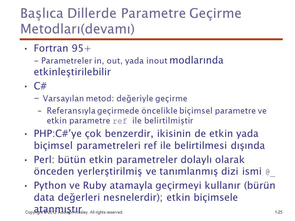 Başlıca Dillerde Parametre Geçirme Metodları(devamı)