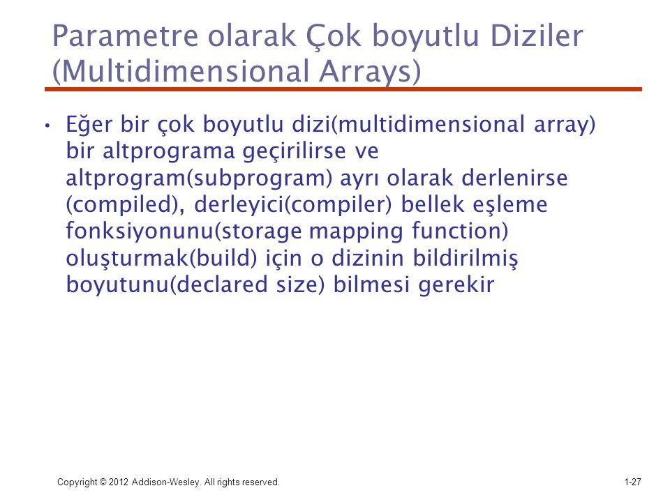Parametre olarak Çok boyutlu Diziler (Multidimensional Arrays)