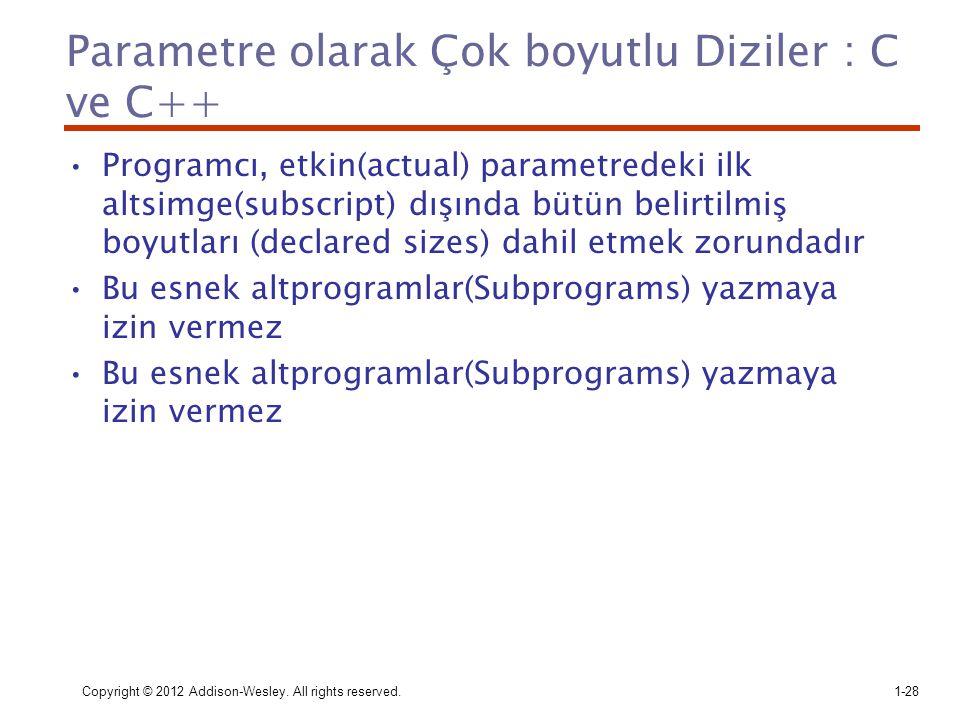 Parametre olarak Çok boyutlu Diziler : C ve C++