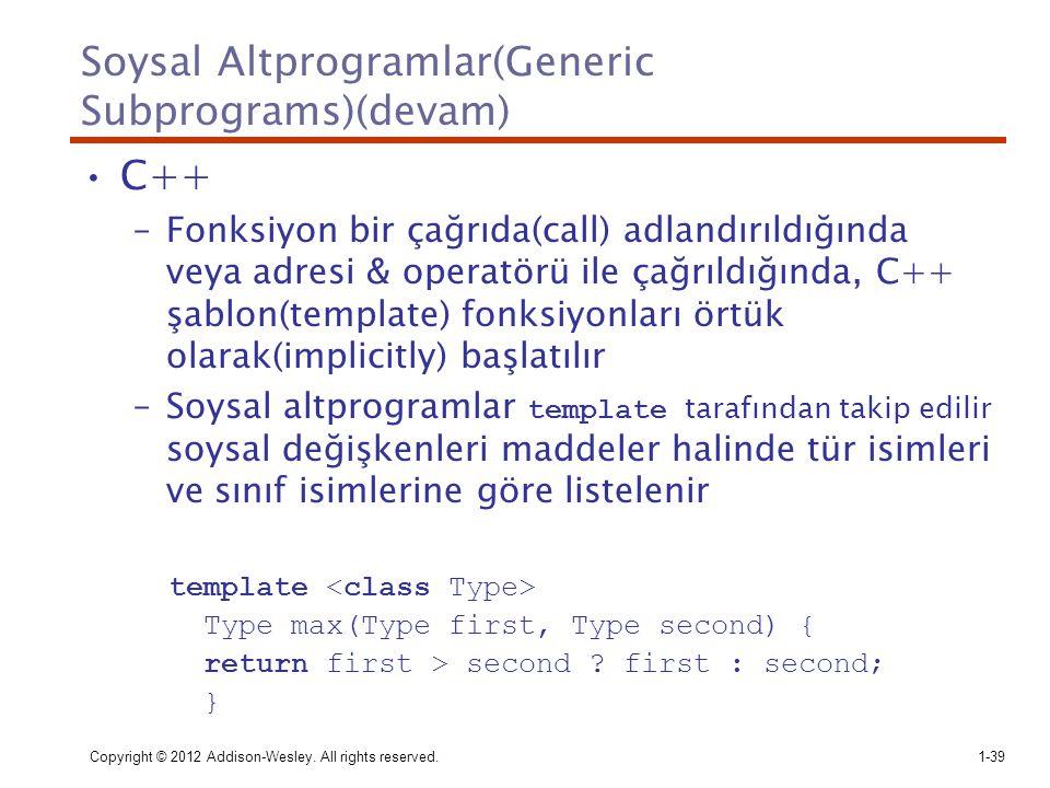 Soysal Altprogramlar(Generic Subprograms)(devam)