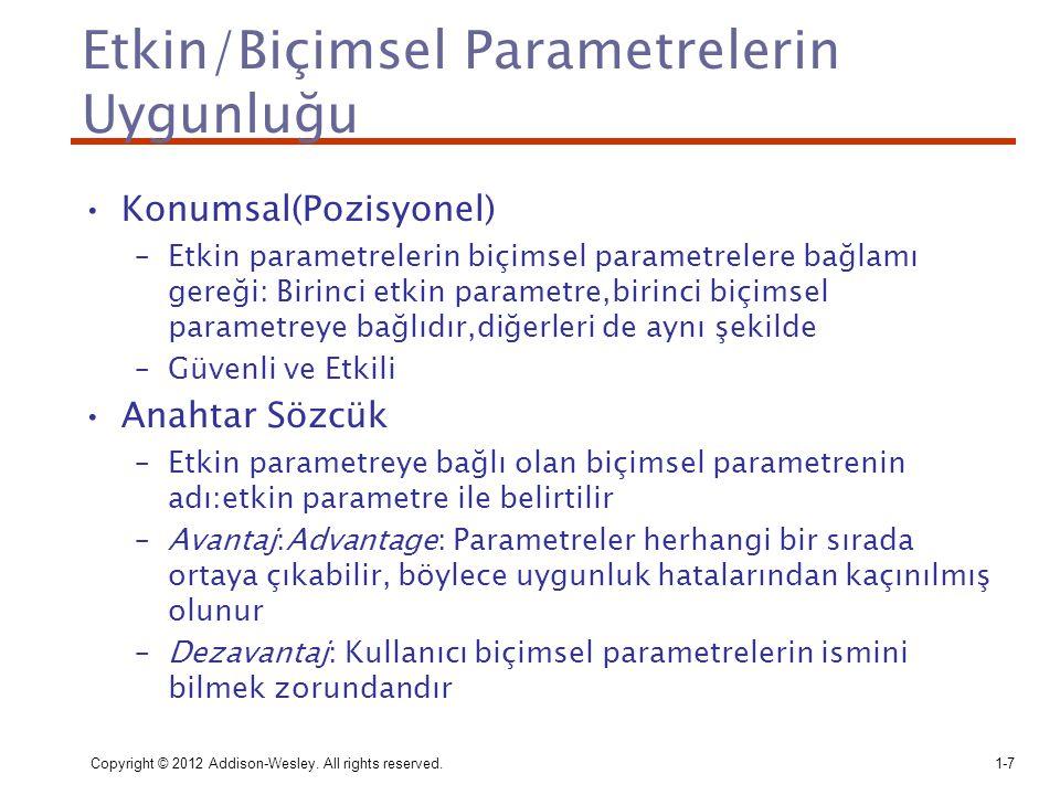 Etkin/Biçimsel Parametrelerin Uygunluğu
