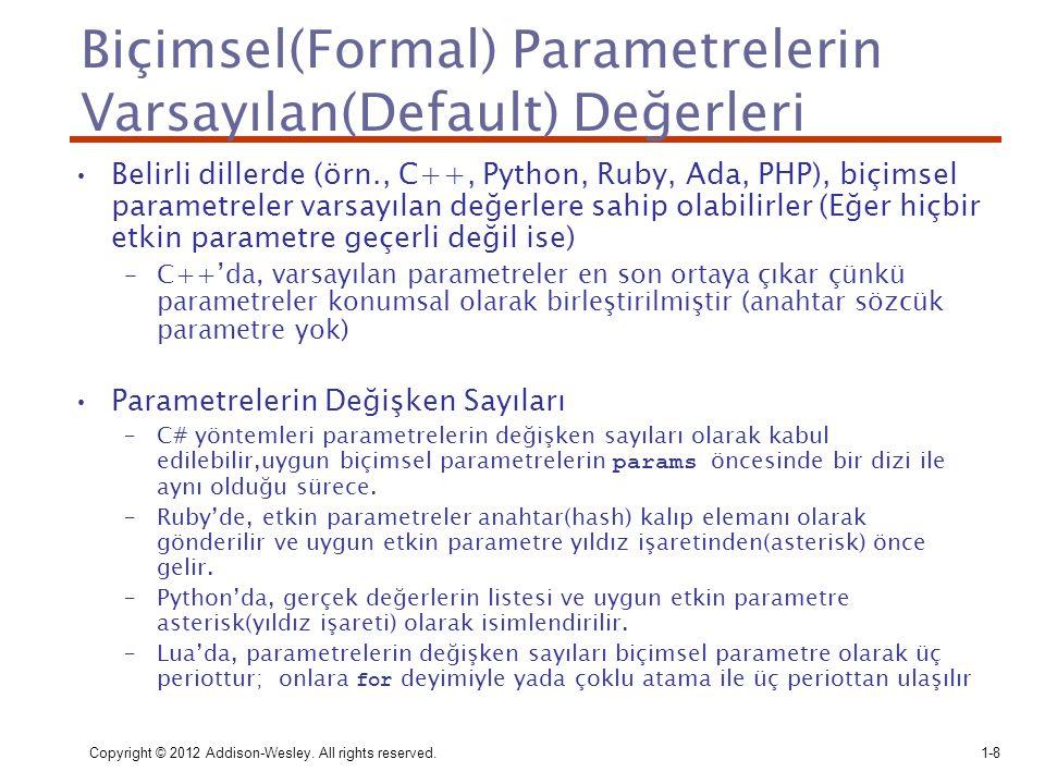 Biçimsel(Formal) Parametrelerin Varsayılan(Default) Değerleri
