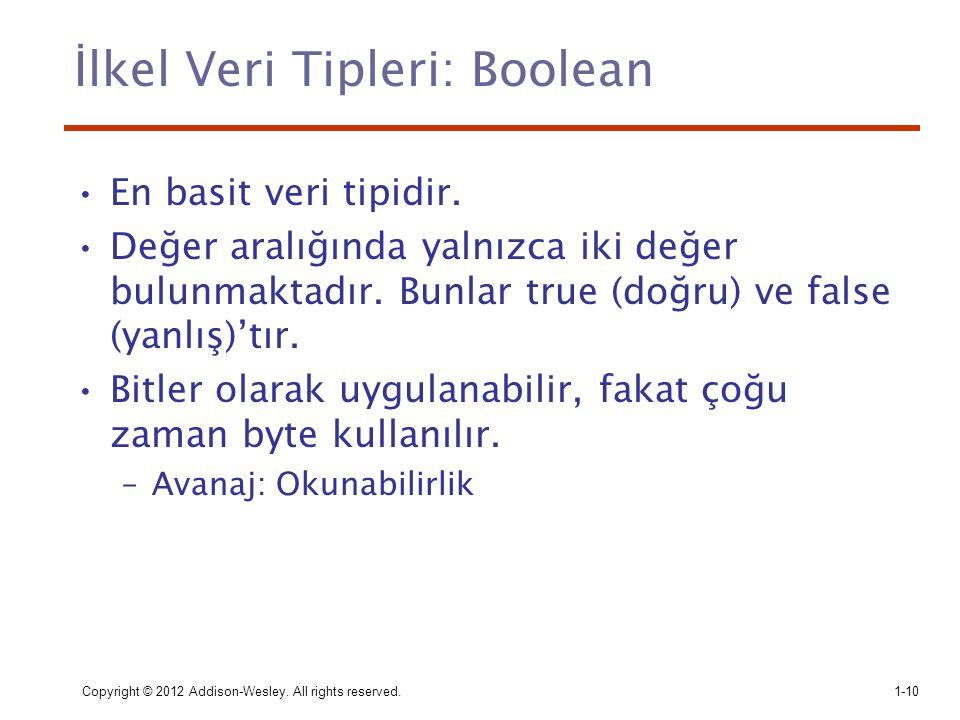 İlkel Veri Tipleri: Boolean