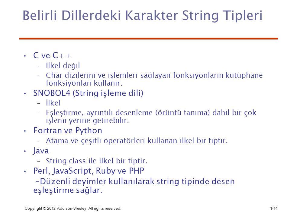 Belirli Dillerdeki Karakter String Tipleri