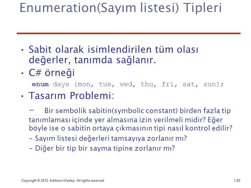 Enumeration(Sayım listesi) Tipleri
