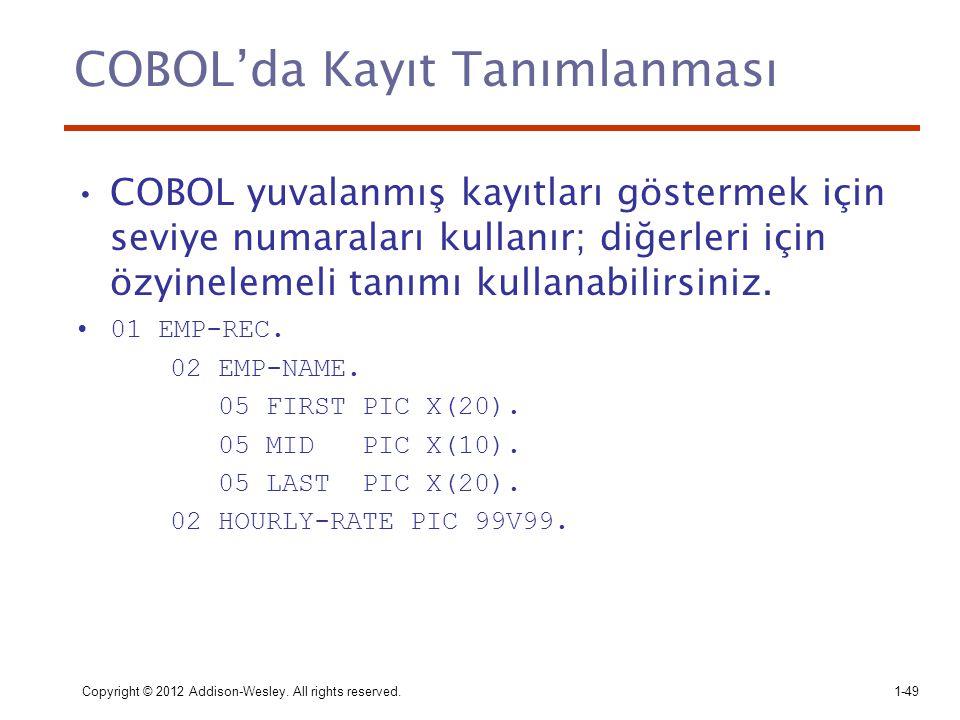 COBOL'da Kayıt Tanımlanması