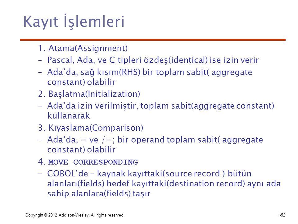 Kayıt İşlemleri 1. Atama(Assignment)