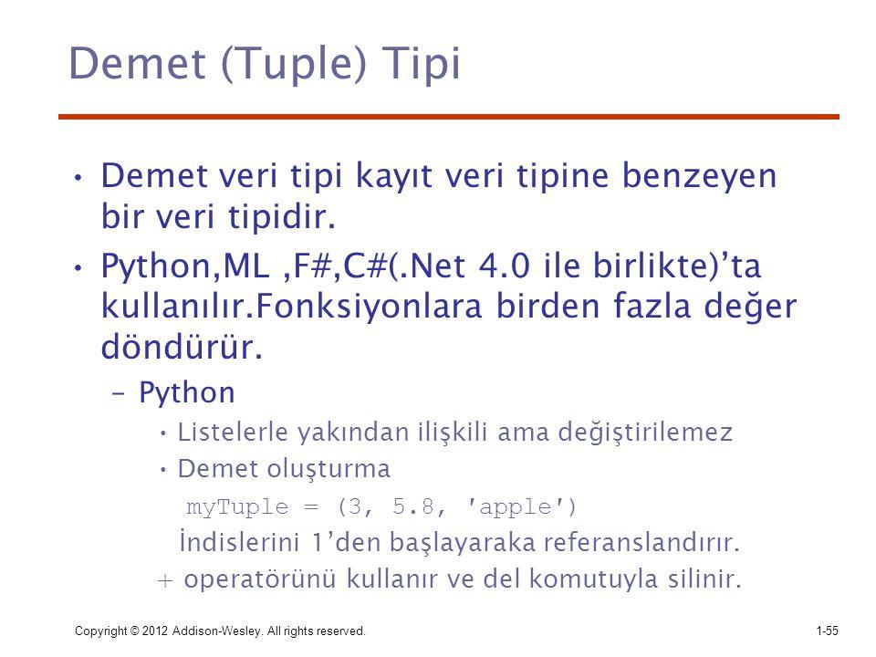 Demet (Tuple) Tipi Demet veri tipi kayıt veri tipine benzeyen bir veri tipidir.