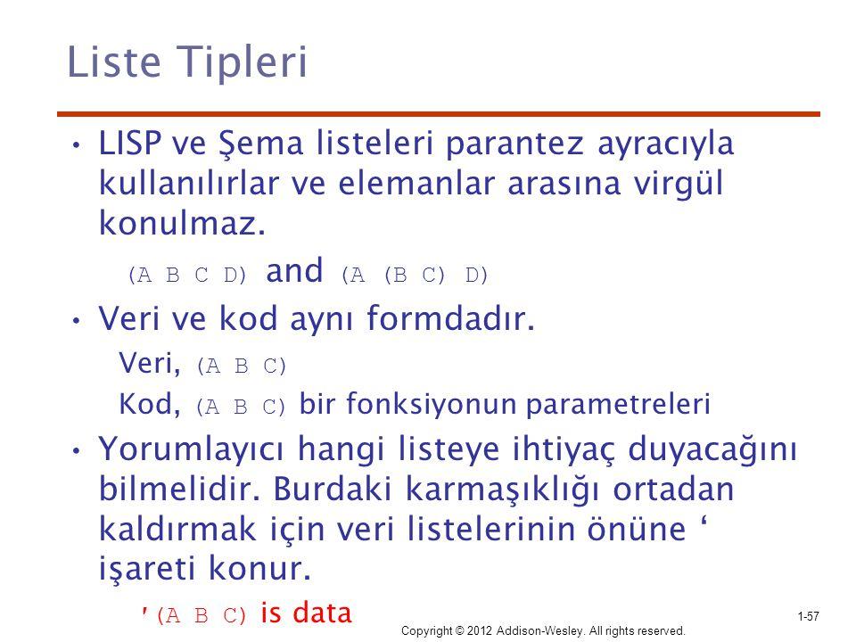 Liste Tipleri LISP ve Şema listeleri parantez ayracıyla kullanılırlar ve elemanlar arasına virgül konulmaz.