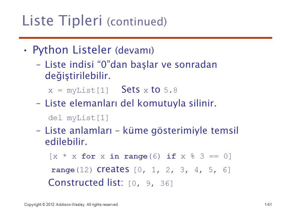 Liste Tipleri (continued)