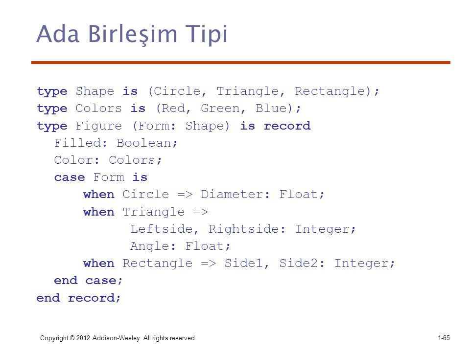 Ada Birleşim Tipi type Shape is (Circle, Triangle, Rectangle);