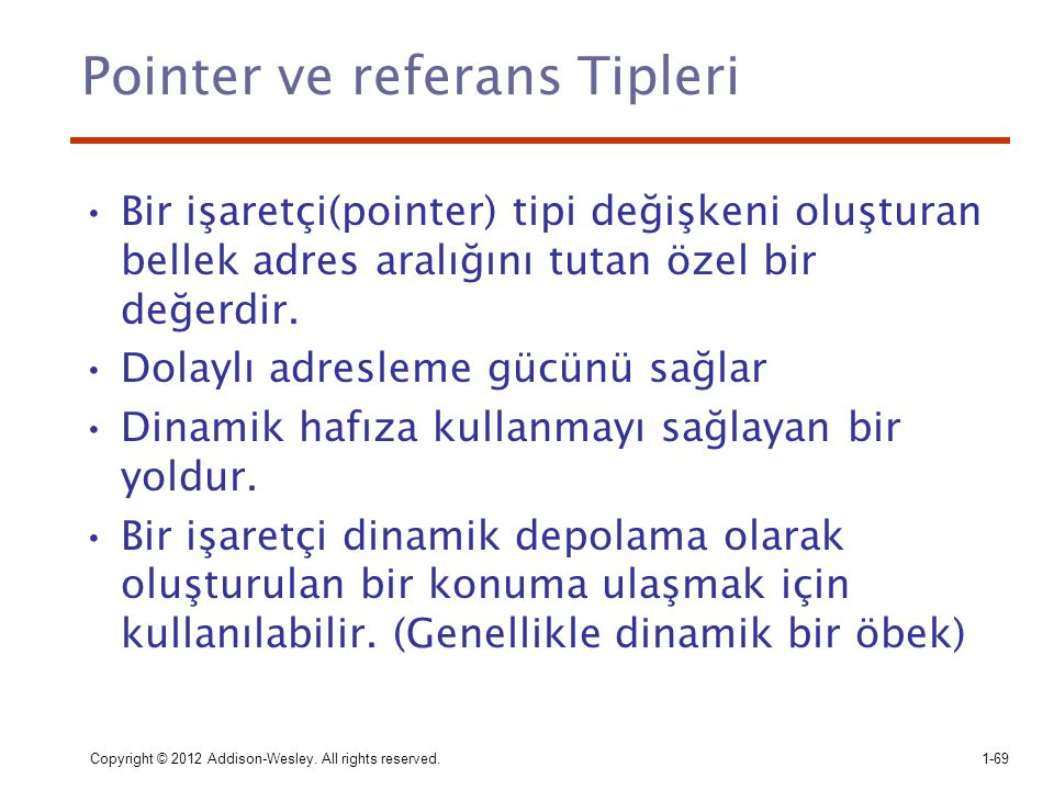 Pointer ve referans Tipleri