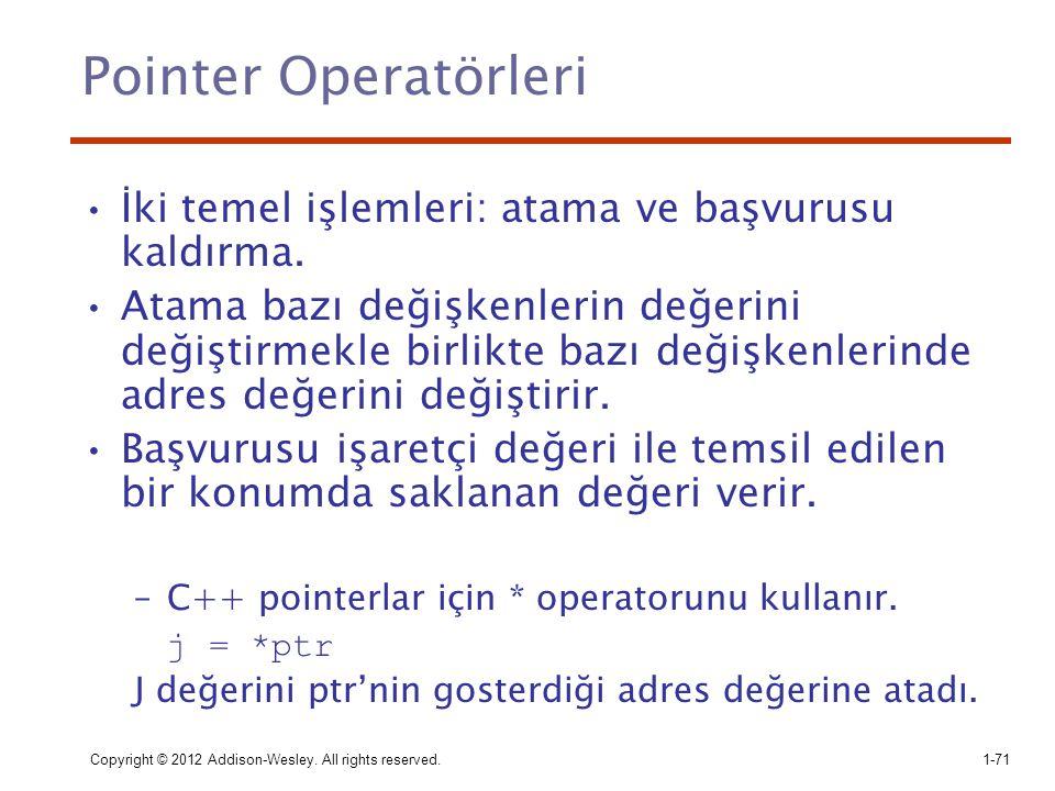 Pointer Operatörleri İki temel işlemleri: atama ve başvurusu kaldırma.