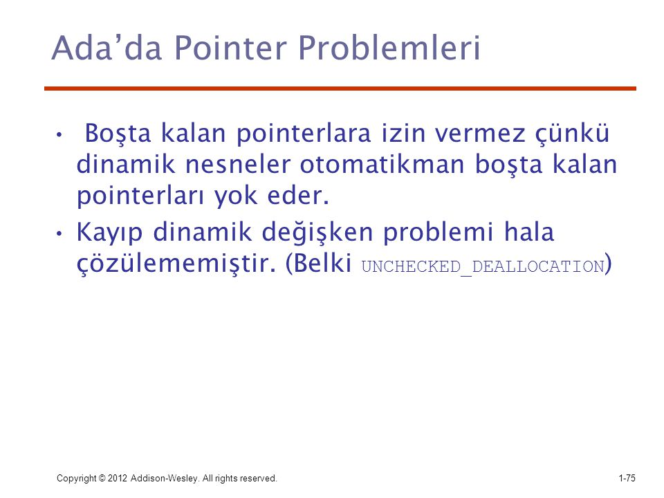 Ada'da Pointer Problemleri