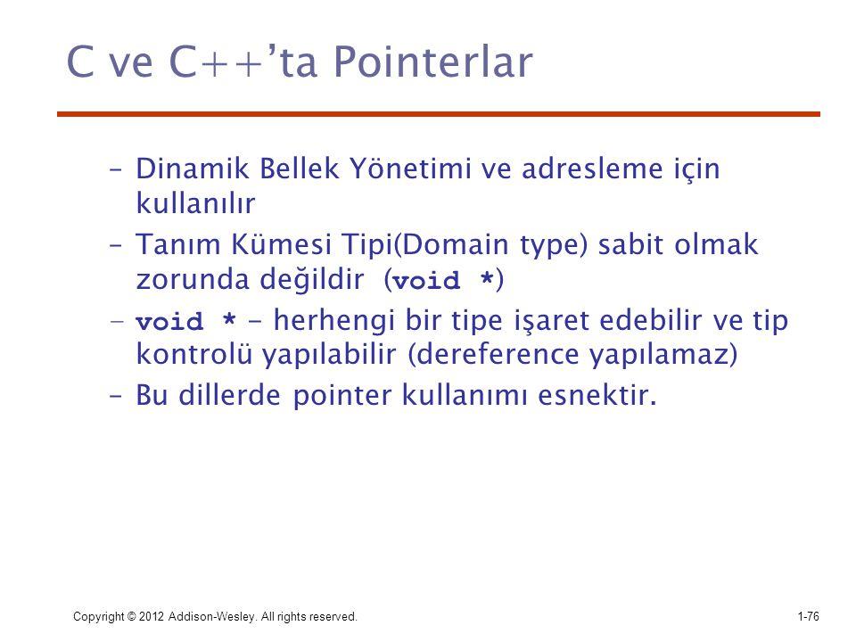 C ve C++'ta Pointerlar Dinamik Bellek Yönetimi ve adresleme için kullanılır. Tanım Kümesi Tipi(Domain type) sabit olmak zorunda değildir (void *)