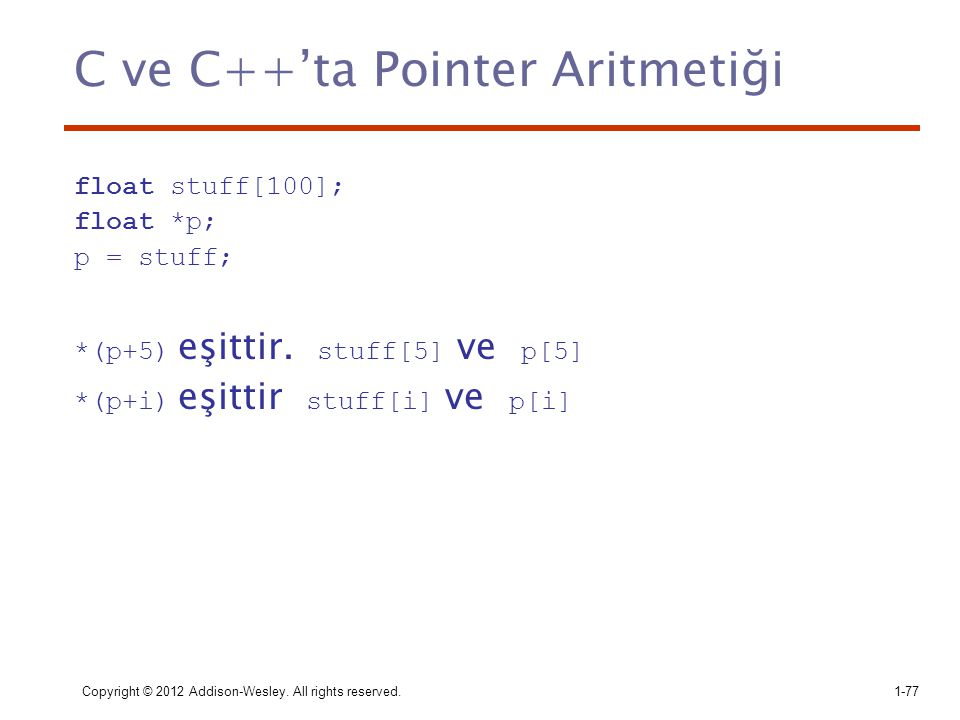 C ve C++'ta Pointer Aritmetiği