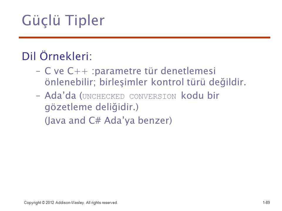 Güçlü Tipler Dil Örnekleri: