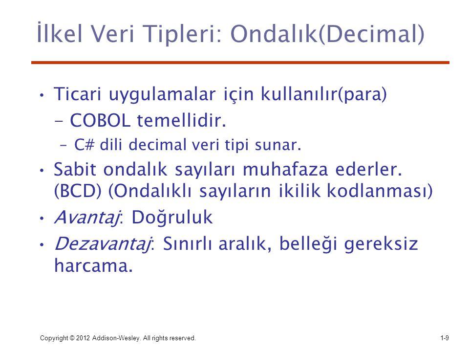 İlkel Veri Tipleri: Ondalık(Decimal)