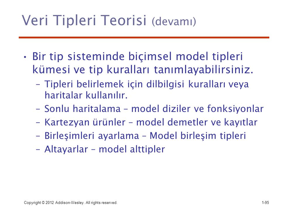Veri Tipleri Teorisi (devamı)