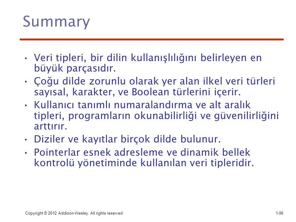 Summary Veri tipleri, bir dilin kullanışlılığını belirleyen en büyük parçasıdır.