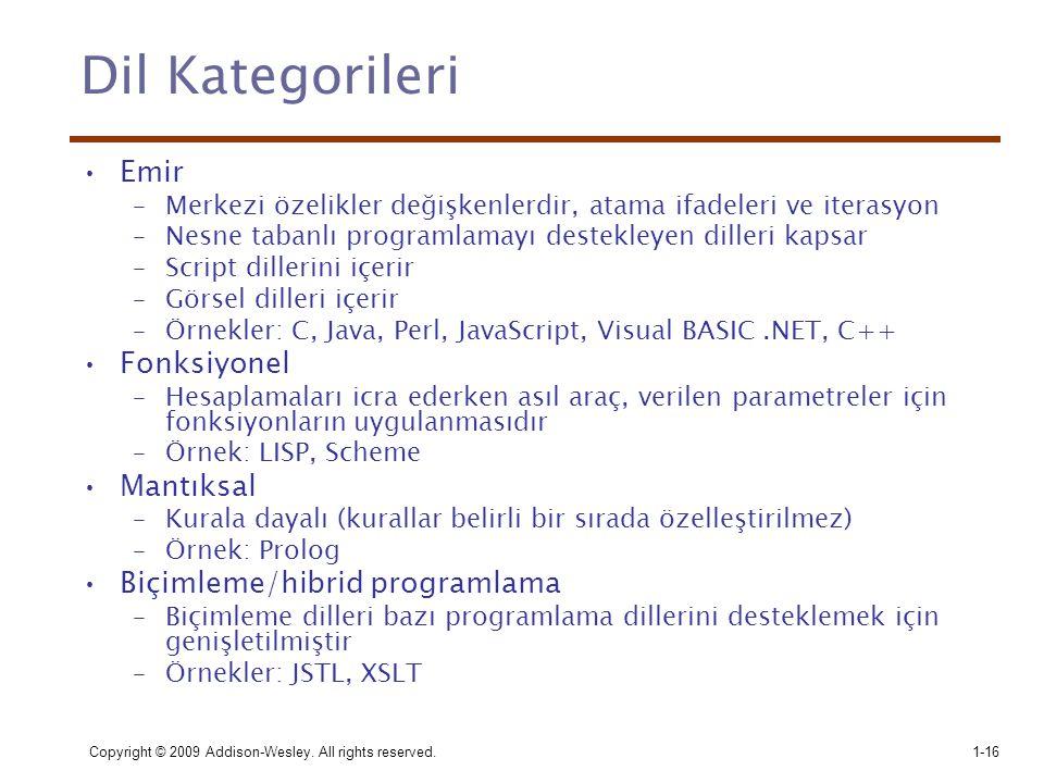 Dil Kategorileri Emir Fonksiyonel Mantıksal