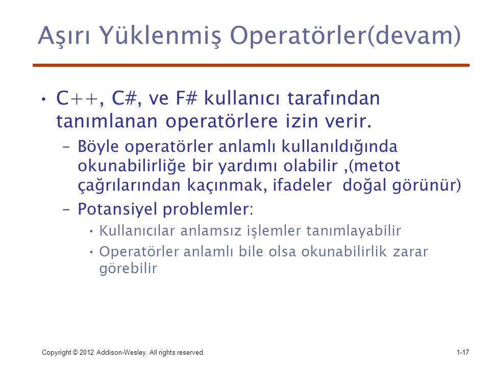 Aşırı Yüklenmiş Operatörler(devam)