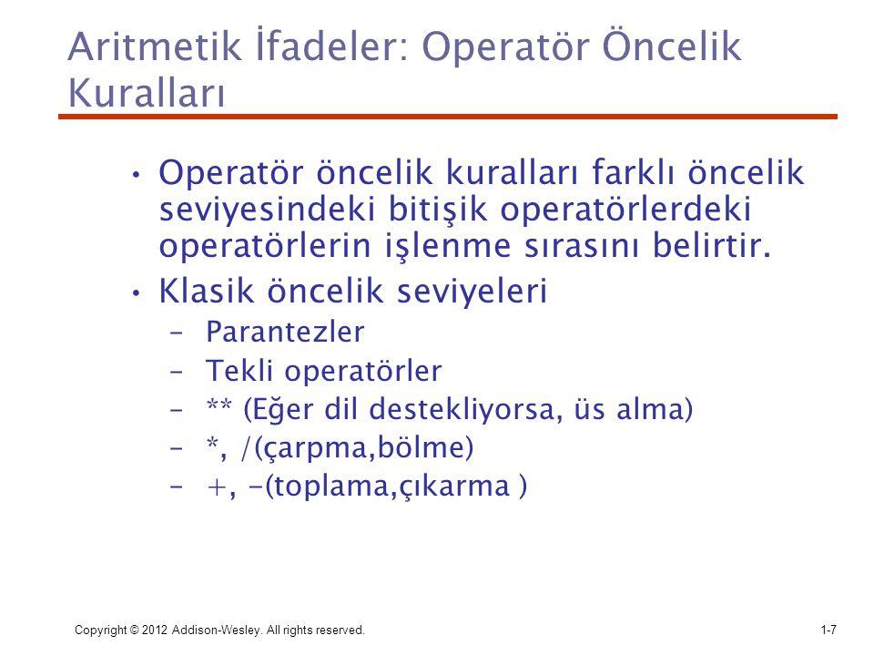 Aritmetik İfadeler: Operatör Öncelik Kuralları