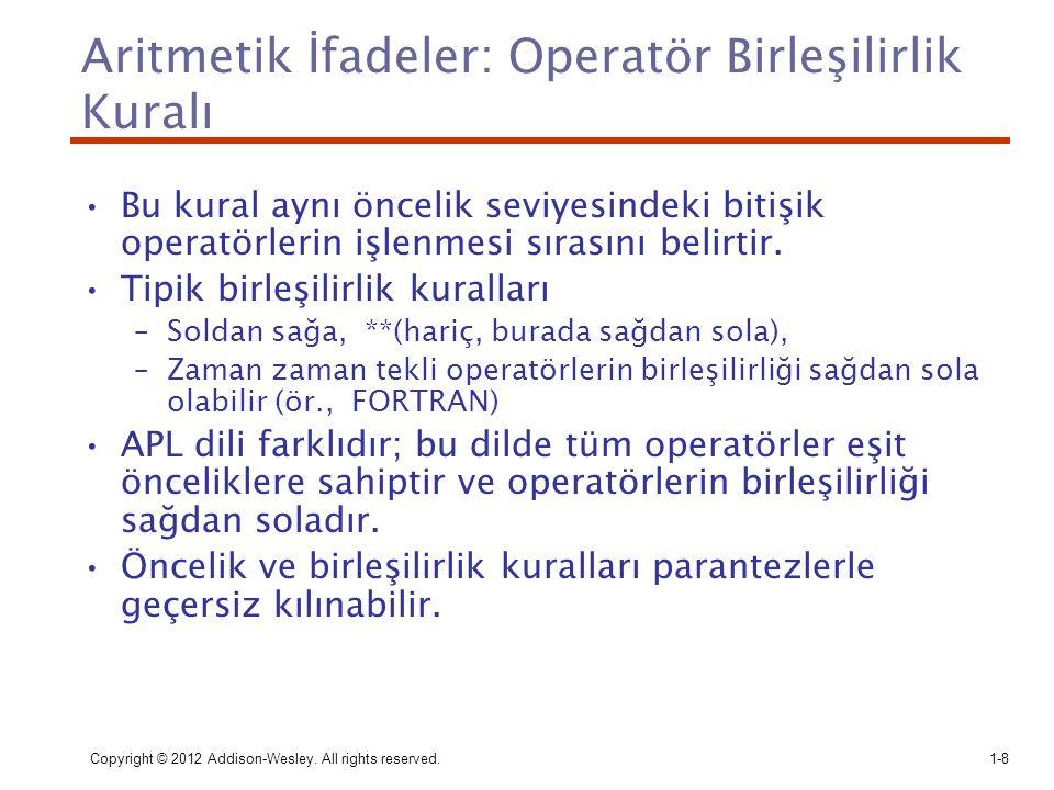 Aritmetik İfadeler: Operatör Birleşilirlik Kuralı