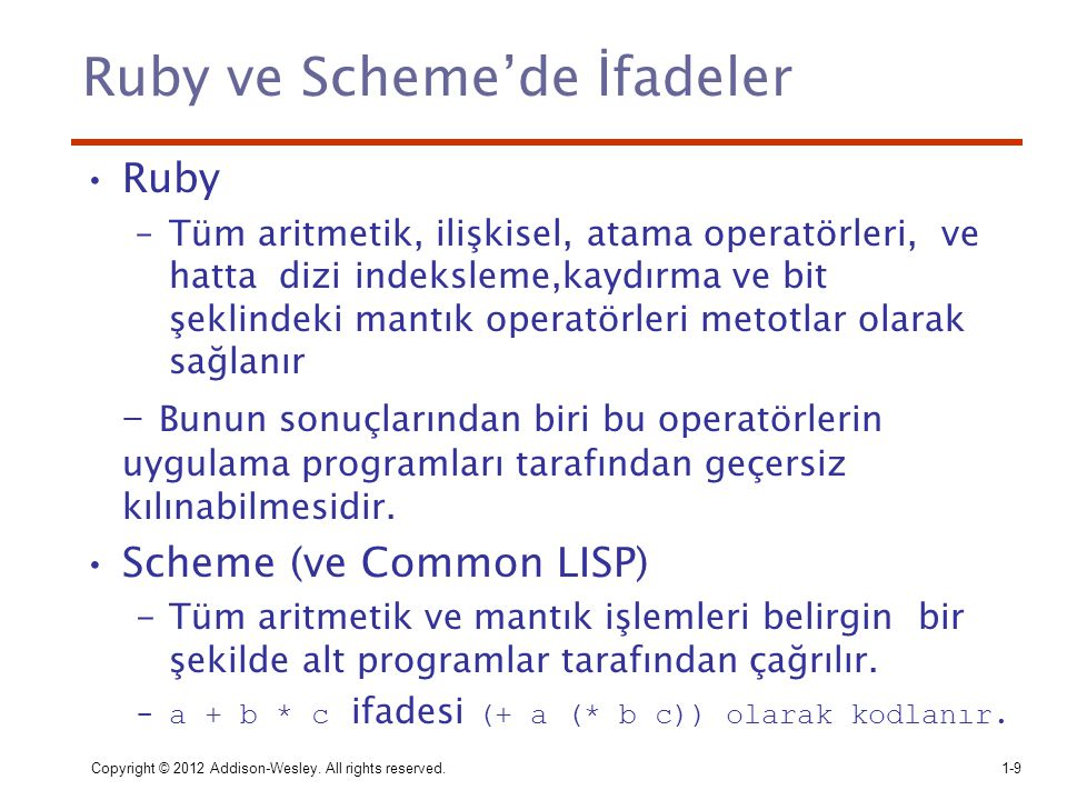 Ruby ve Scheme'de İfadeler