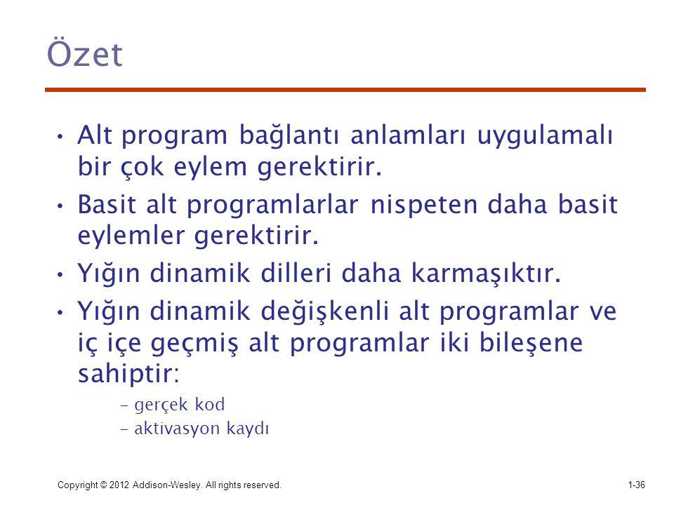 Özet Alt program bağlantı anlamları uygulamalı bir çok eylem gerektirir. Basit alt programlarlar nispeten daha basit eylemler gerektirir.