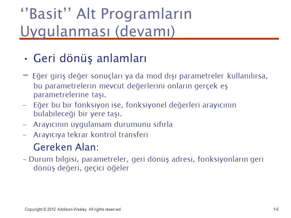 ''Basit'' Alt Programların Uygulanması (devamı)