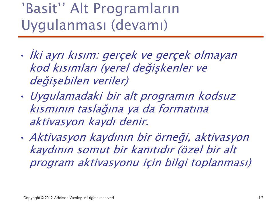 'Basit'' Alt Programların Uygulanması (devamı)