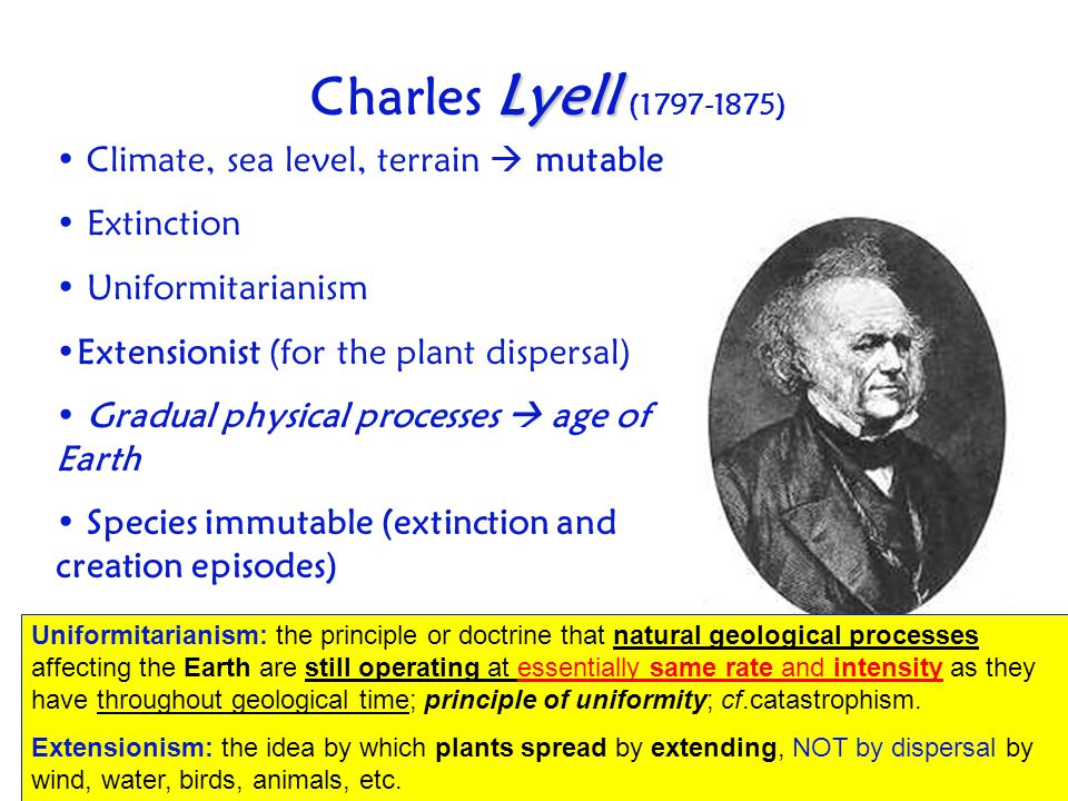 Charles Lyell (1797-1875) Climate, sea level, terrain  mutable