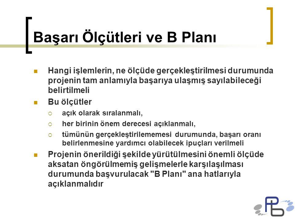 Başarı Ölçütleri ve B Planı