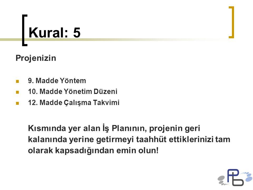 Kural: 5 Projenizin. 9. Madde Yöntem. 10. Madde Yönetim Düzeni. 12. Madde Çalışma Takvimi.