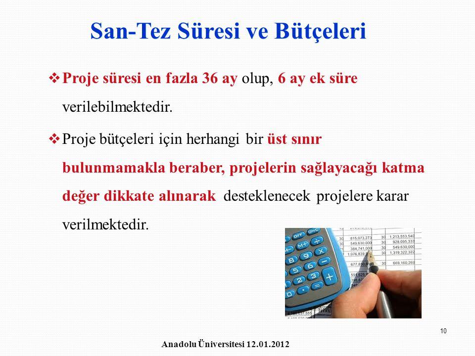 San-Tez Süresi ve Bütçeleri
