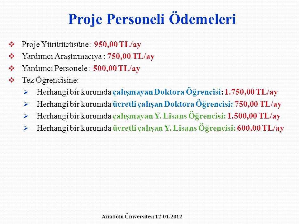 Proje Personeli Ödemeleri