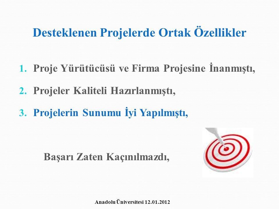 Desteklenen Projelerde Ortak Özellikler
