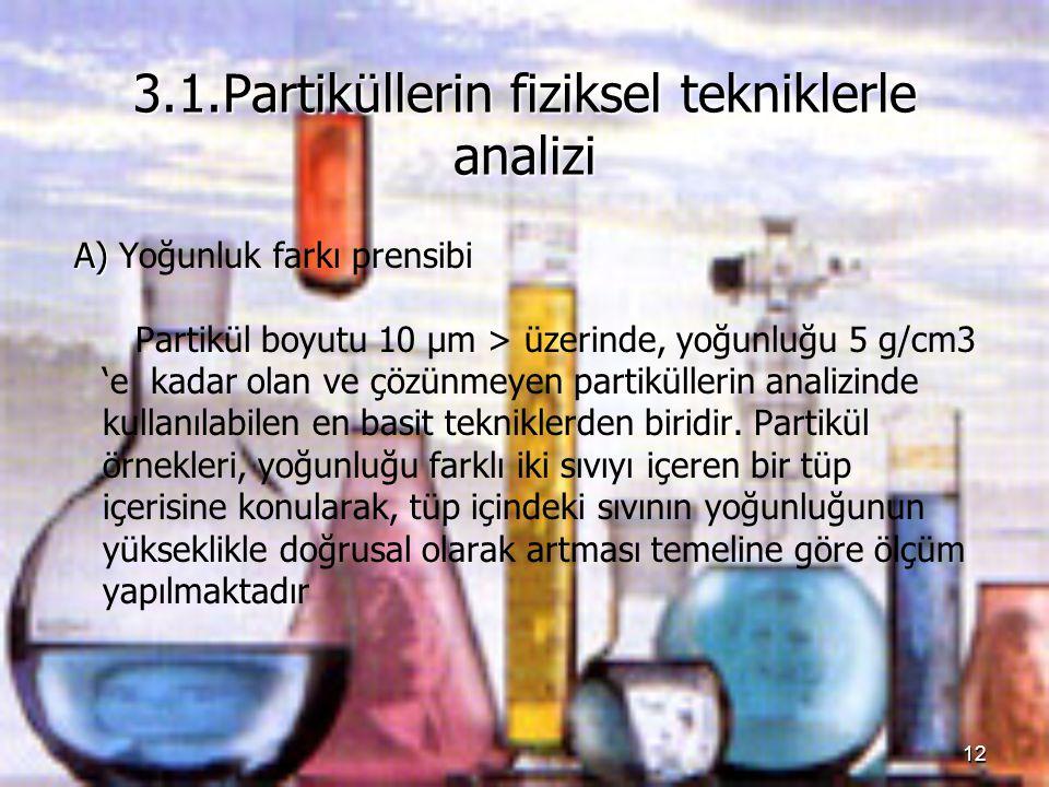 3.1.Partiküllerin fiziksel tekniklerle analizi