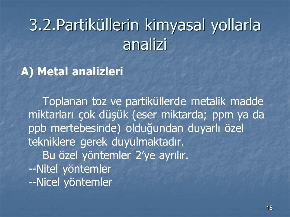3.2.Partiküllerin kimyasal yollarla analizi