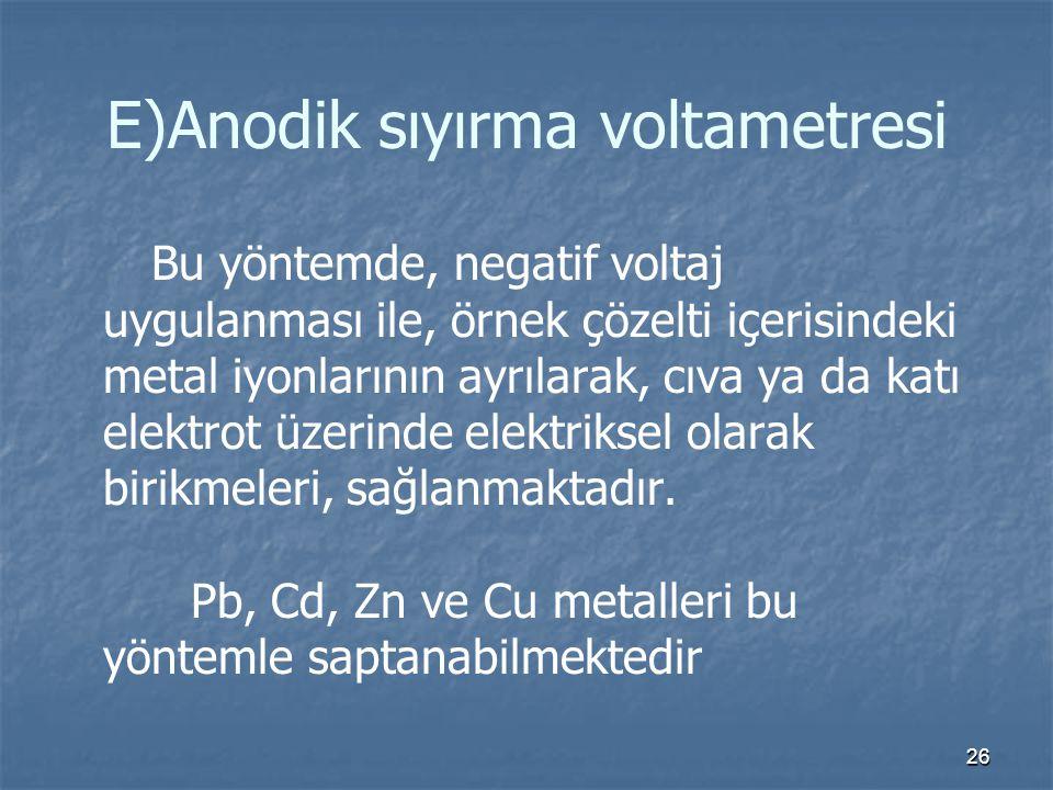 E)Anodik sıyırma voltametresi