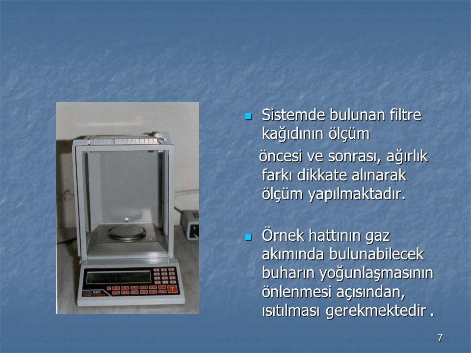 Sistemde bulunan filtre kağıdının ölçüm