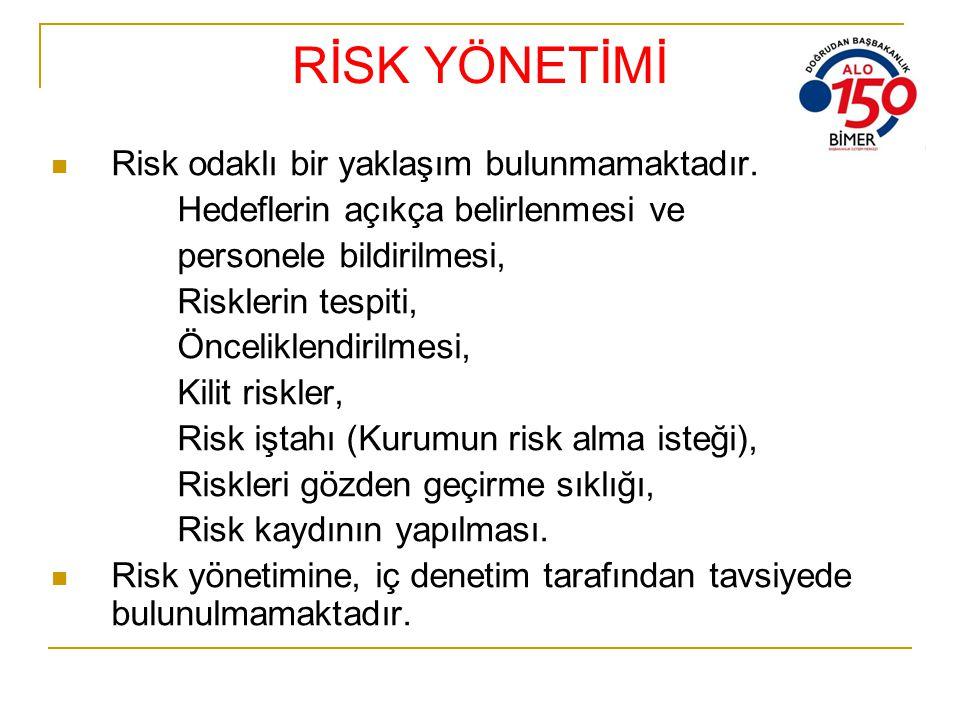 RİSK YÖNETİMİ Risk odaklı bir yaklaşım bulunmamaktadır.